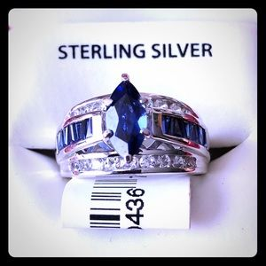 Sterling Silver CRTD BL & WH SAP Ring